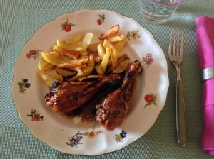 Muslos de pollo asados con ajo y vinagre