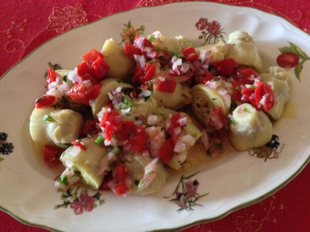 Alcachofas con salsa vinagreta